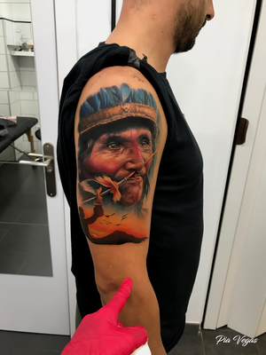 Indianer native tattoo farbe color