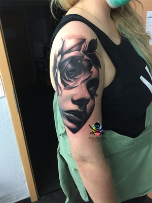 rose tattoo portrait face gesicht