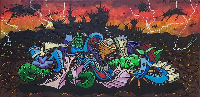 Slaya - Graffiti Style Leinwand 40x20