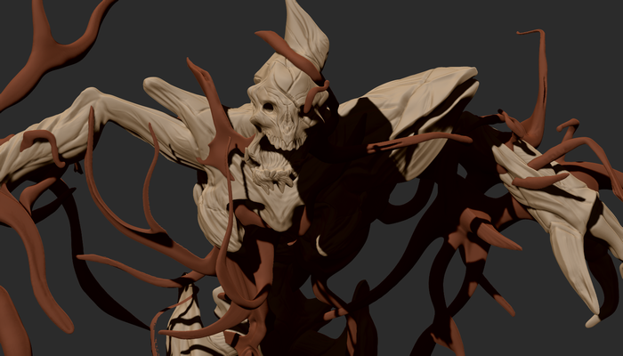 Rough 3d model concept for the infested space pirate remains asset.