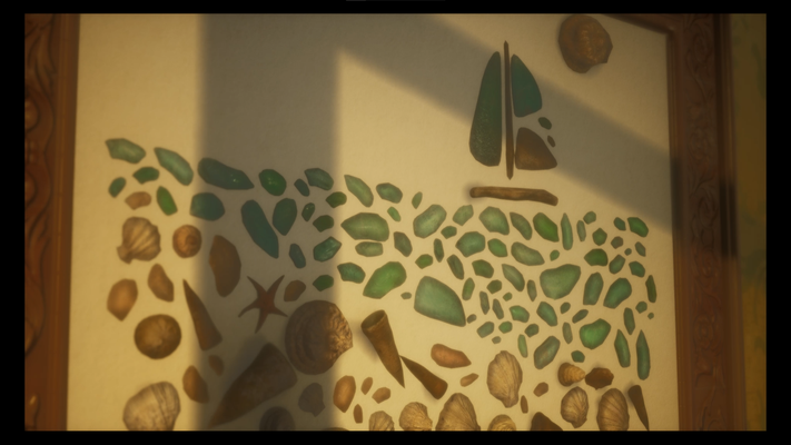 Modeling and texturing of the mosaic made of sea glass, shells and small debris. Done in Maya, Zbrush, Substance Painter. Rendered in Unreal Engine, After Effects.