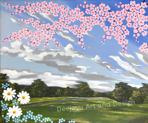 Cherry Blossom Park, acrylic on canvas