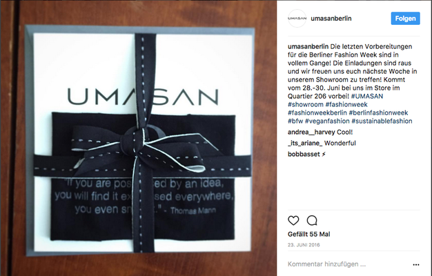 Instagram Post: Fashion Week Einladungen UMASAN