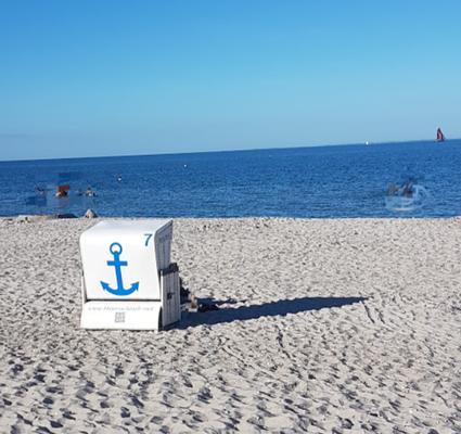 Hauseigener Strandkorb für unsere Gäste von Juni bis Septemper ohne Aufpreis nutzbar