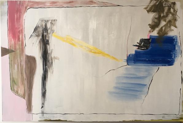 Obdach, Öl und Collage auf Leinen, 80x100cm