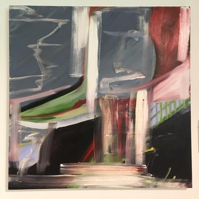 Liesing, Öl und Collage auf Leinen, 80x80cm