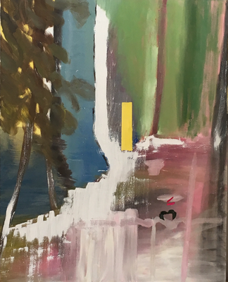 Unterach, Öl und Collage auf Leinen, 100x80cm