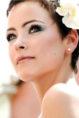 Maquillaje de novia en tonos  azules