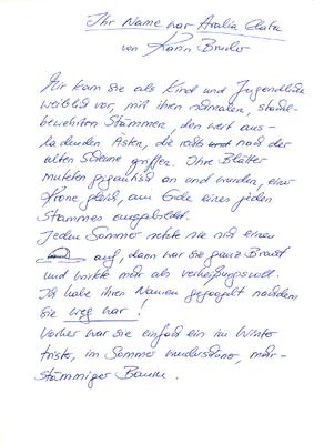 Karin Bruder, Handschrift
