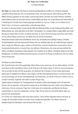 """Karin Bruder, Textauszug """"Ihr Name war Aralia Elata"""""""