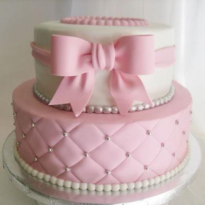 taart roze, taart roze strik,