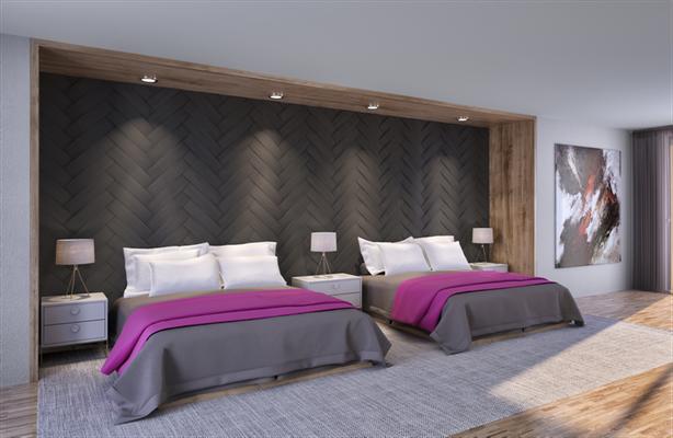 Individuelle Gestaltung der Bett Kopfteile im Hotelzimmer mit mehr als 100 Variationen
