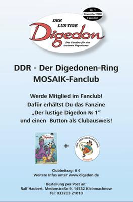 1. DIGEDON-Postkarte, Auflage unter 30 Stück (Nov. 2008)