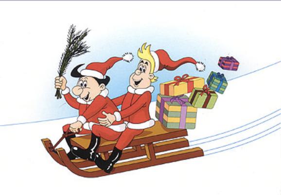 Weihnachtskarte des Roman-und-Comicladens, Auflage 200 Stück (2002)