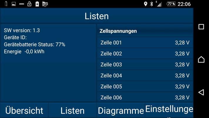 Listenansicht Zellspannungen