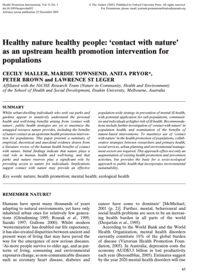 Healthy nature healthy people: 'contact with nature' as an upstream health promotion intervention for populations