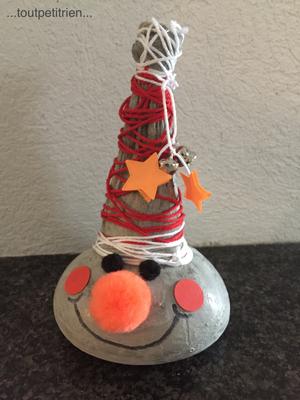 Bricolage Noël, un mi-bas, du béton, de la laine, des pompons et du papier / toutpetitrien.ch