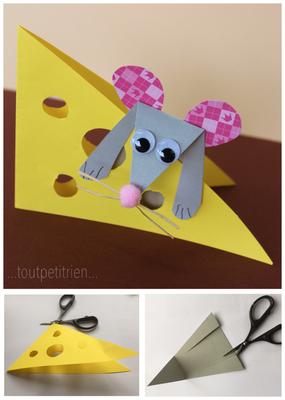 Petite souris bricolée avec nos chutes de papiers cartonnés. www.toutpetitrien.ch/bricos/ - fleurysylvie