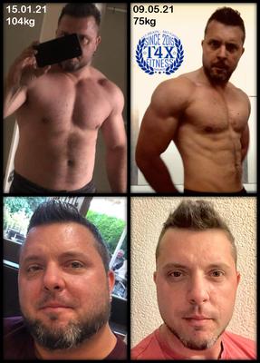 Hier das mega Ergebnis der Diät von Dino Terpín. Unterstützt wurde er dabei von Trans4matix Trainer Rocco Montana. Seine Ernährung wurde speziell angepasst und optimal ergänzt durch die T4X Produkte. Super Dino reife Leistung!