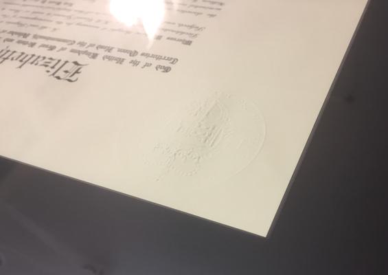 Urkunde in schwarzen Archiv - Passepartout eingelegt