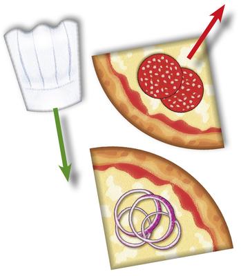 Pizza Monsters - Letztes Pizzastück einer Pizza abgeben, eine Kochmütze erhalten