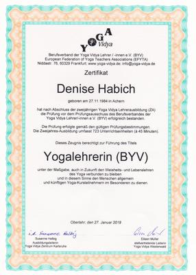 Zertifikat Yogalehrerin (BYV)