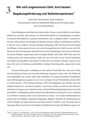 Bestellung #3 - 11 Seiten - Preis: 3,00 € - Wer sich angenommen fühlt, lernt besser: Begabungsförderung und Selbstkompetenzen
