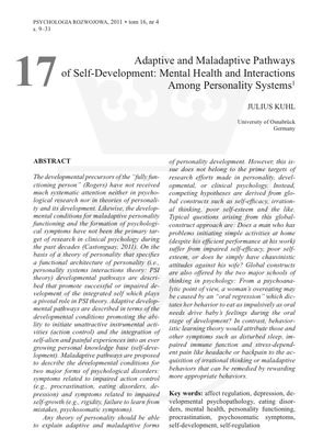 Bestellung #17 - 23 Seiten - Preis: 3,00 € - Adaptive and Maladaptive Pathways of Self-Development: Mental Health and Interactions Among Personality Systems
