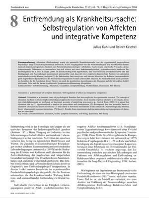 Bestellung #8 - 11 Seiten - Preis: 3,00 € - Entfremdung als Krankheitsursache: Selbstregulation von Affekten und integrative Kompetenz