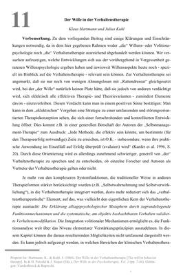 Bestellung #11 - 32 Seiten - Preis: 3,00 € - Der Wille in der Verhaltenstherapie