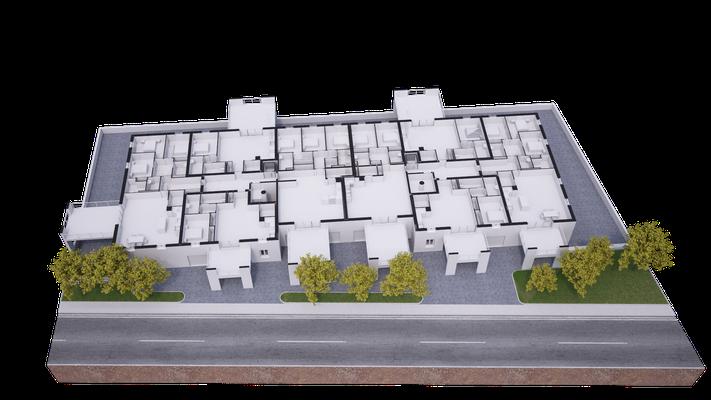 Vue en coupe  sur une maquette blanche d'un projet immobilier sur la commune de Brives-Charensac en Haute-loire(43)