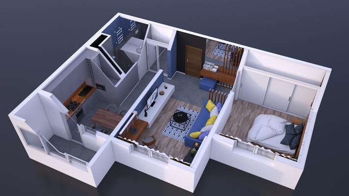 Plan de vente 3D d'un appartement.  Logiciel: Cinema4D/V-ray