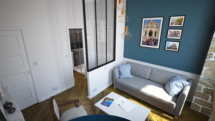 Aménagement d'un appartement sur le Puy en velay ( projet 1 ).  Logiciel: Archicad/Cinema4D/V-ray