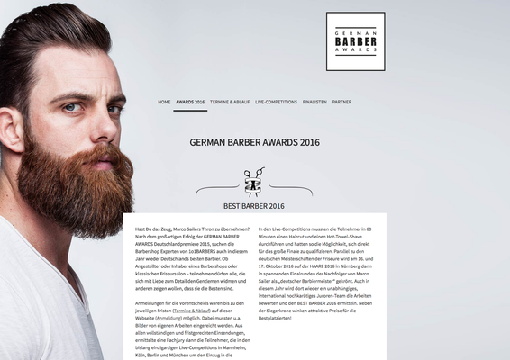 Webseite German Barber Awards