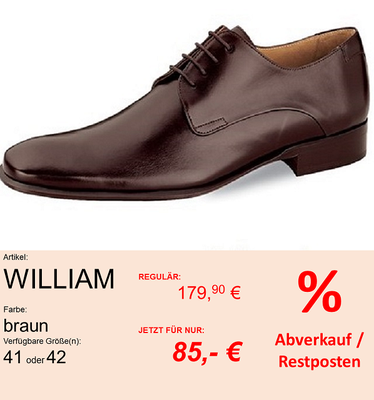 Marke: ELSA COLOURED SHOES // Modell: WILLIAM // Farbe: BRAUN // Größe: 41 oder 42