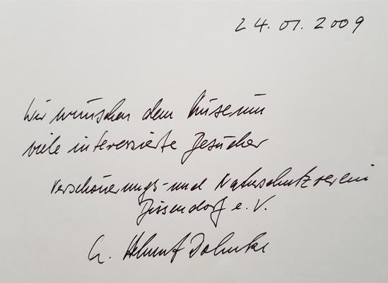 Widmung Dr. Dohnke, damals 1. Vorsitzender des Verschönerungs- und Naturschutzvereins Bissendorf e.V.