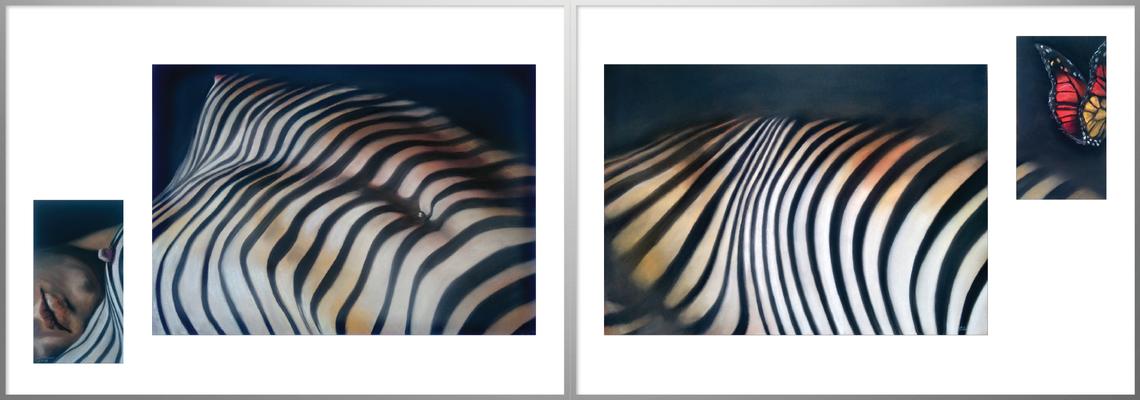 """""""Liegender Akt"""", Pastell, 16 x 29/70 x 50/70 x 50/16 x 29, 2 Rahmen 100 x 70"""