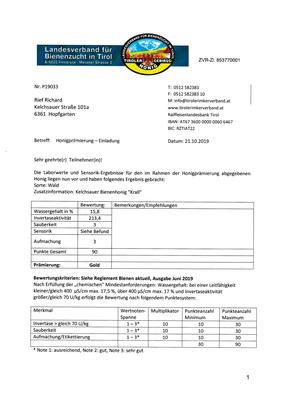 Honigprämierung Tirol 2019