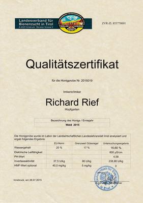 Qualitätszertifikat 2015