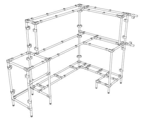 Стол администратора (респешен) из металлической трубы, элементов соединителей UNO, JOKER и панелей из ламинированного ДСП