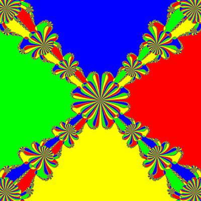 Basins of Attraction z^4-1=0, Kou-Li-Wang-Verfahren