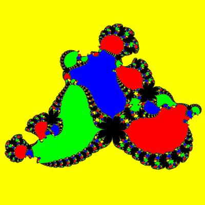 Basins of Attraction z^4-1=0, Sekanten-Verfahren, z<sub>1</sub>=(0.5, 2)