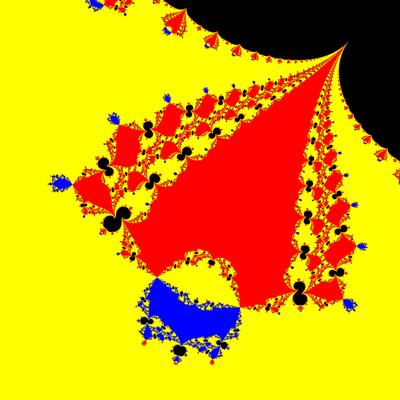 Basins of Attraction z^3-z=0, Contra Harmonic-Newton-Verfahren, Zoom b
