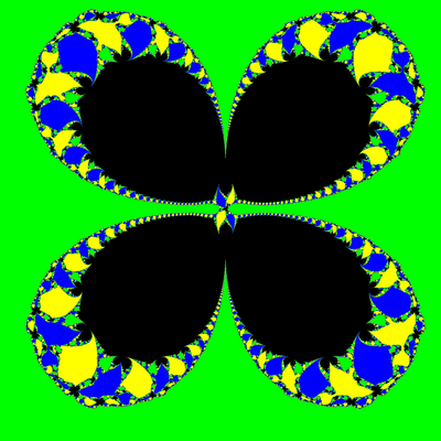 Basins of Attraction z^3-1=0, Sekanten-Verfahren, z<sub>1</sub>=(0.1, 0)