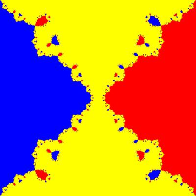 Basins of Attraction z^3-z=0, Fang-Ni-Cheng-Verfahren, B=[-10, 10]×[-10, 10]
