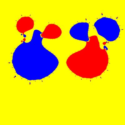 Basins of Attraction z^3-z=0, Sekanten-Verfahren, z<sub>1</sub>=(-0.5, 5)