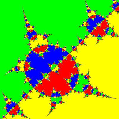 Basins of Attraction z^4-1=0, Basto-Verfahren modifiziert, a=1.98, Zoom