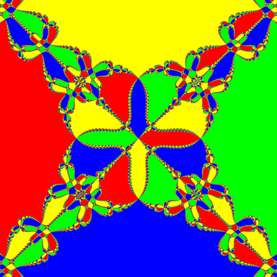 Basins of Attraction z^4-1=0 Schröder-Verfahren modifiziert, a=1.01, B=[-10, 10]x[-10, 10]
