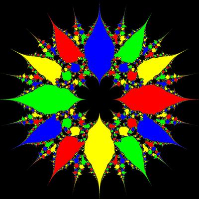 Basins of Attraction z^4-1=0, Sekanten-Verfahren