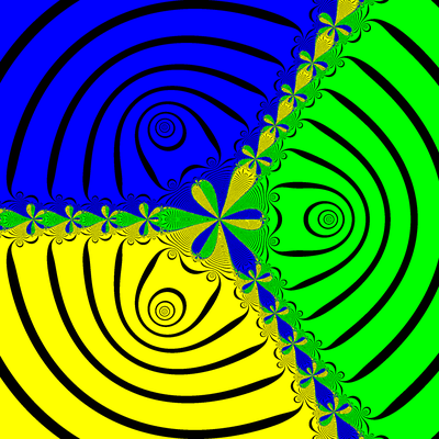 Basins of Attraction z^3-1=0, Euler-Chebyshev-Verfahren, m=0.35